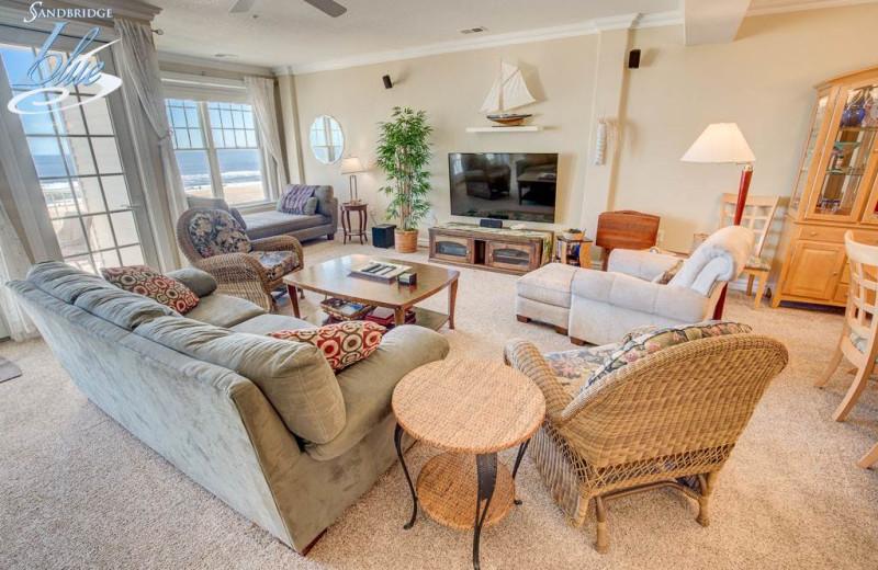 Rental living room at Sandbridge Blue Vacation Rentals.