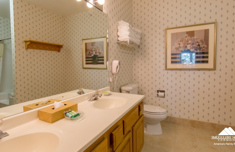 Guest bathroom at Smugglers' Notch Resort.