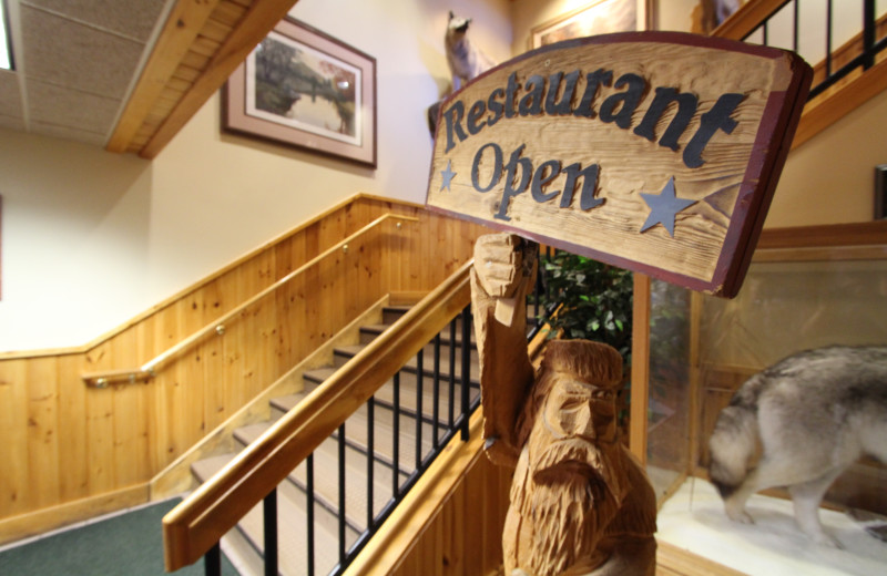 Restaurant entrance at Superior Shores Resort.