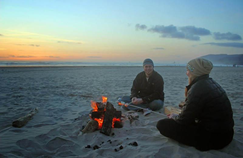 Beach campfire at Hallmark Resort in Newport.