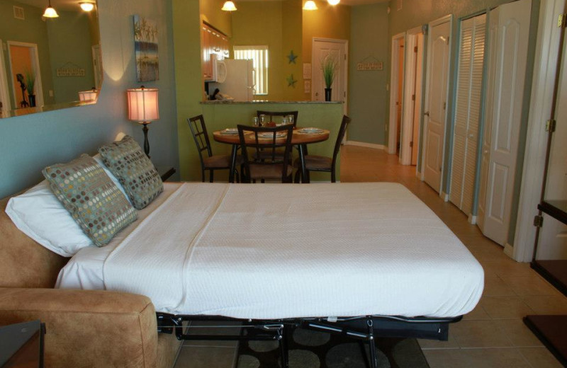 Couch pull out bed at Sunsational Beach Rentals. LLC.