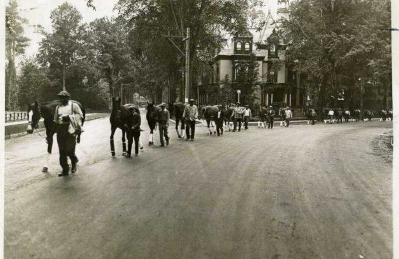 Historic photo of Saratoga Race Course from Batcheller Mansion Inn Bed and Breakfast.