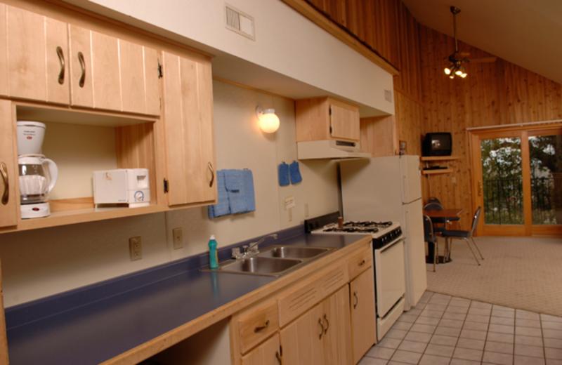 Cabin kitchen at Arnesen's Rocky Point Resort.