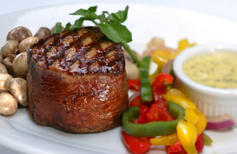 Steak dinner at Buffalo Point Resort.