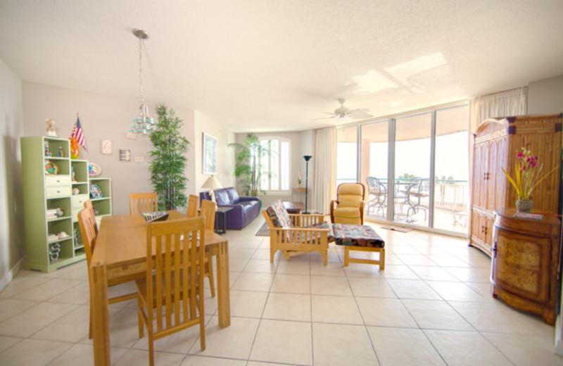 Rental living room at Beach Colony Resort.