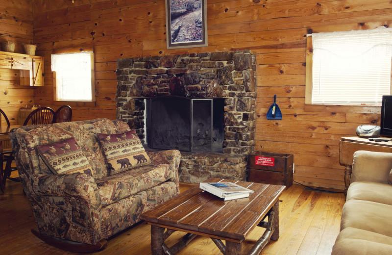 Cabin living room at Buffalo Outdoor Center.