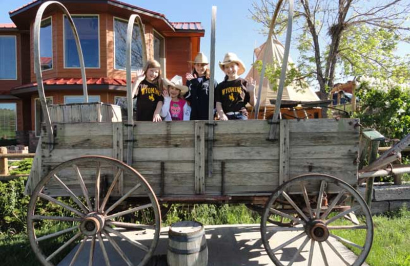 Covered wagon at K3 Guest Ranch.