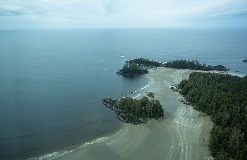 Aerial view of beach at Nootka Wilderness Lodge.