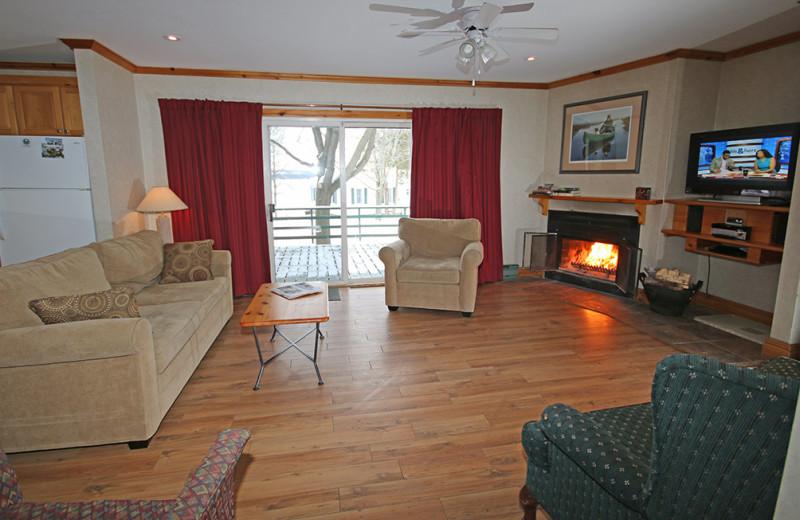Guest living room at Elmhirst's Resort.