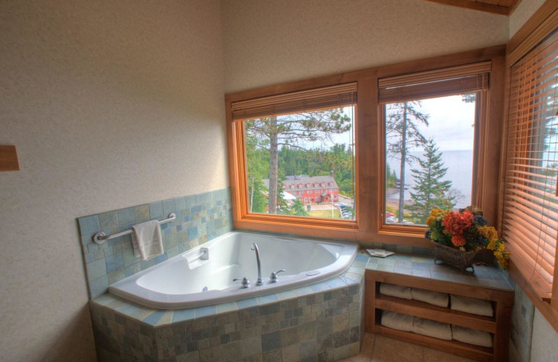 Guest bathroom at Lutsen Resort on Lake Superior.