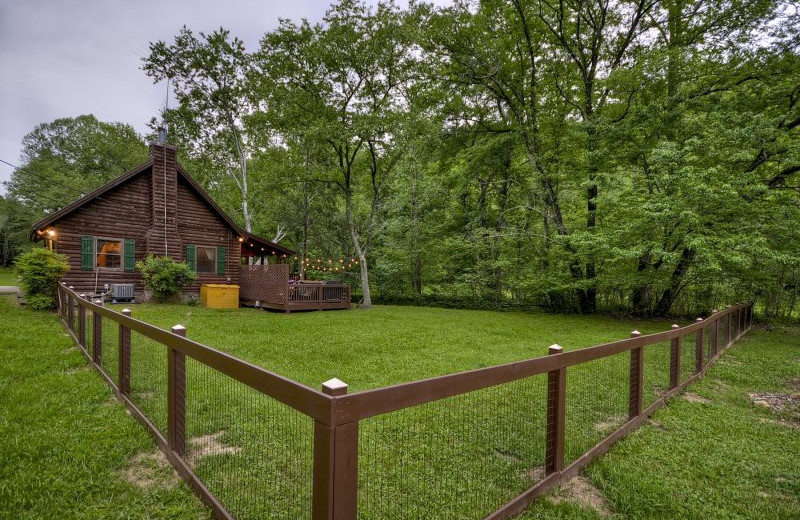 Rental fenced in yard at Blue Sky Cabin Rentals.