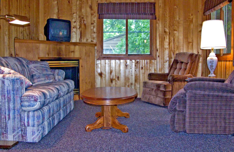 Cabin living room at Sandy Point Lodge.