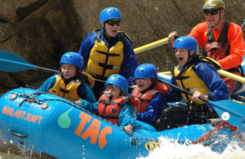 Family rafting at Lodge by the Blue.