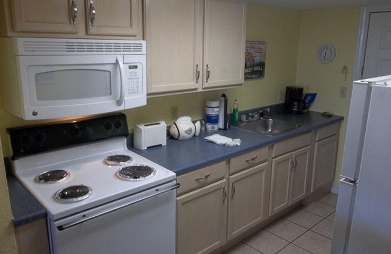 Guest kitchen at Sea Breeze Suites Port Aransas.