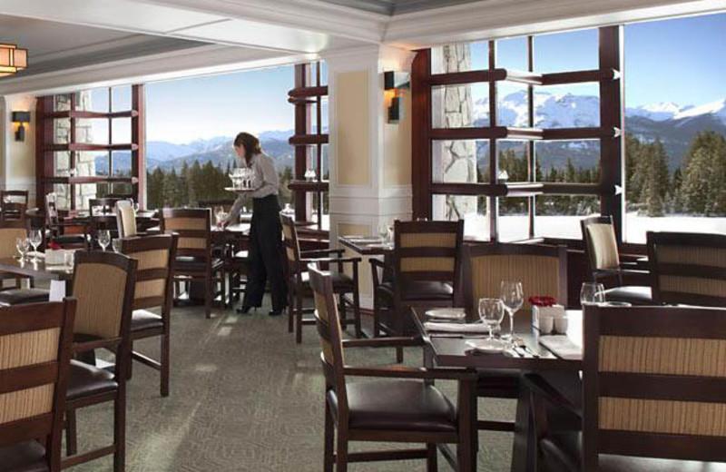 Dining room at The Fairmont Jasper Park Lodge.