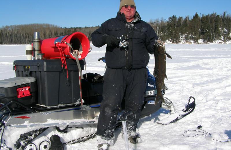 Ice fishing at Scott's Peaceful Valley Resort.
