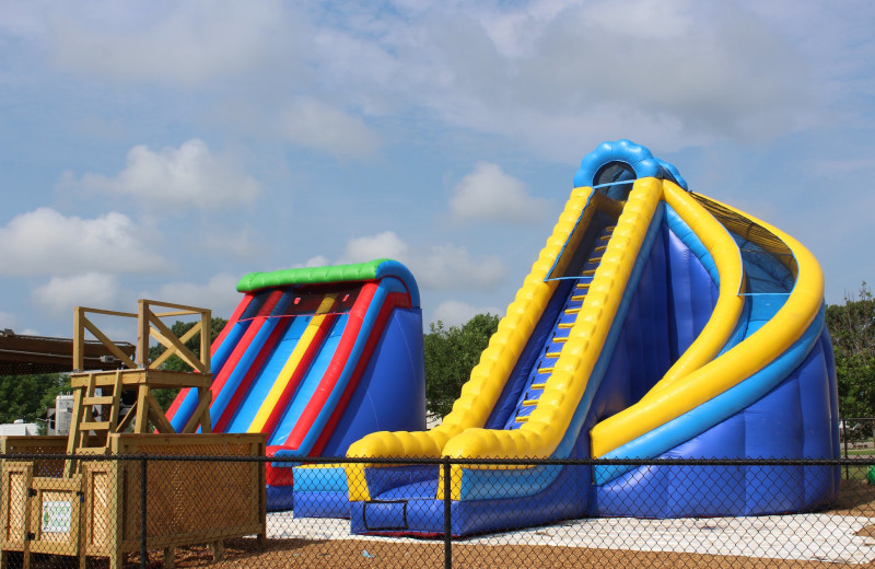 Inflatable slides at Yogi Bear's Jellystone Park Memphis.