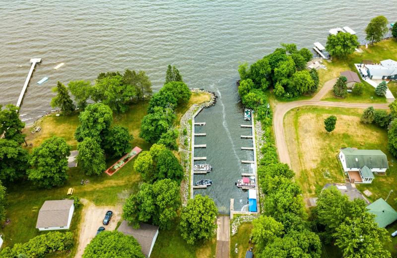Aerial view of The Red Door Resort.