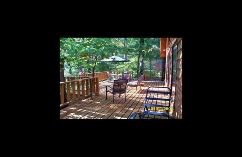 Cabin deck at Island Overlook Cabins.