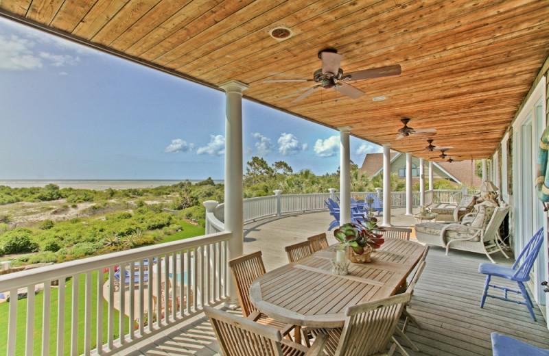 Vacation rental deck view at Hodnett Cooper.