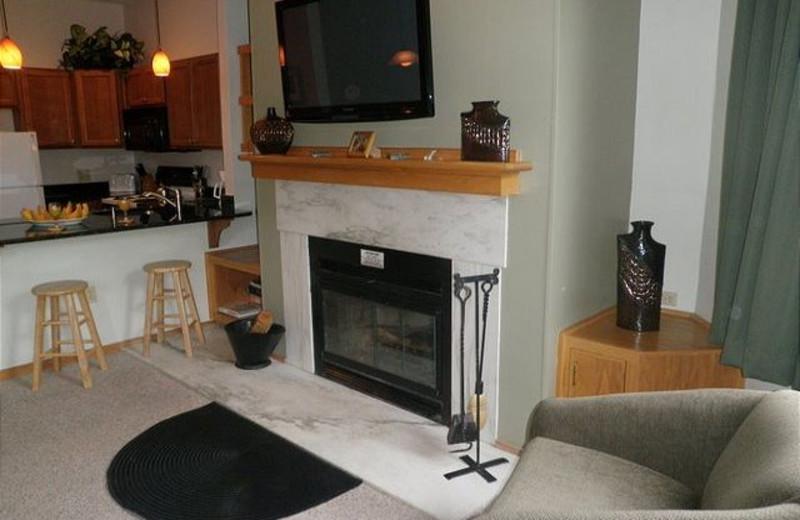 Fireplace at Highridge Condominiums.