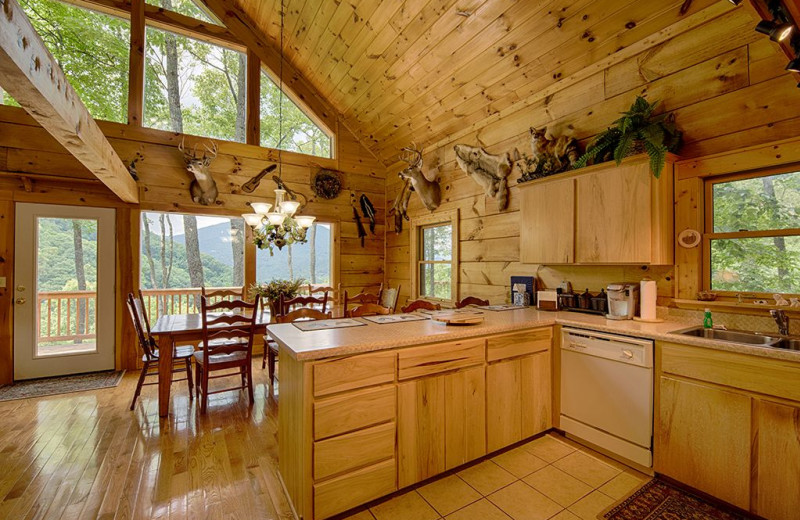 Rental kitchen at Smoky Mountain Retreat Realty.