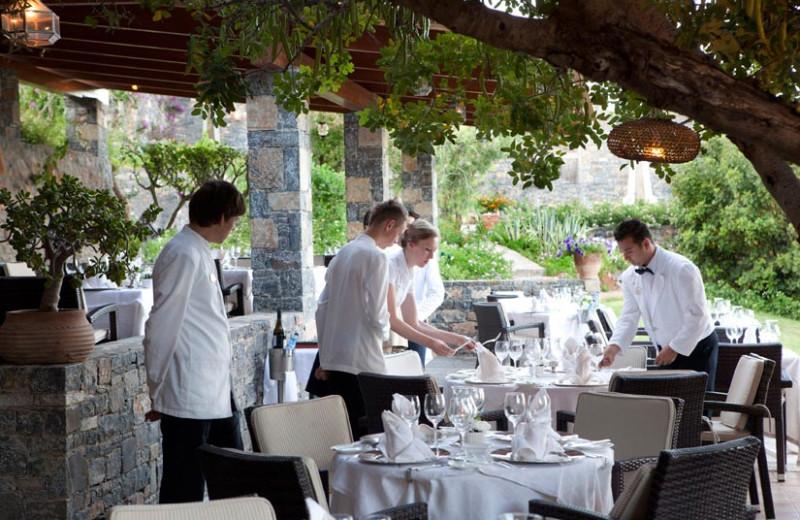 Dining at Elounda Mare Hotel.