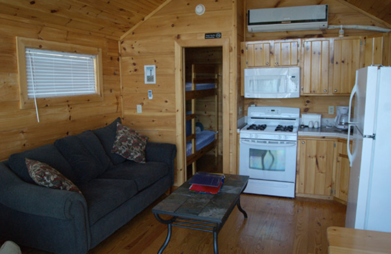 Cabin interior at Edinboro Lake Resort.