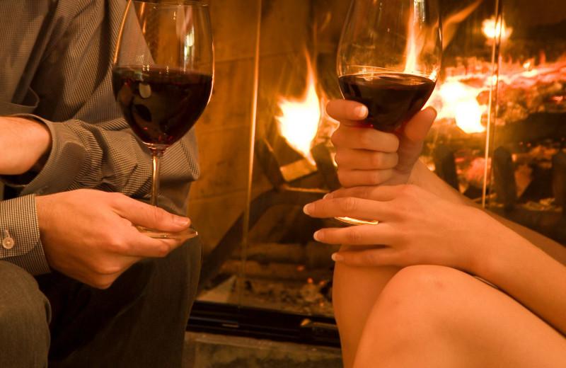 Couple tasting wine at Cottage Grove Inn.