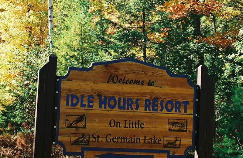 Idle Hours Resort sign.