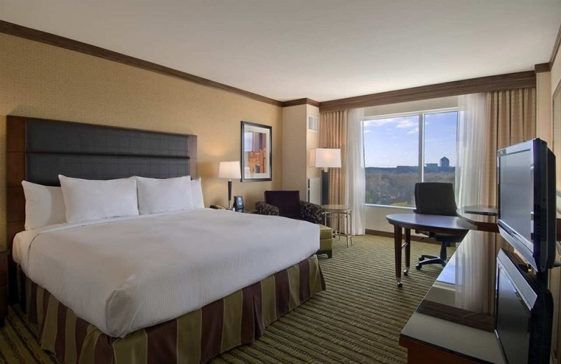 Guest room at Hilton Bloomington.