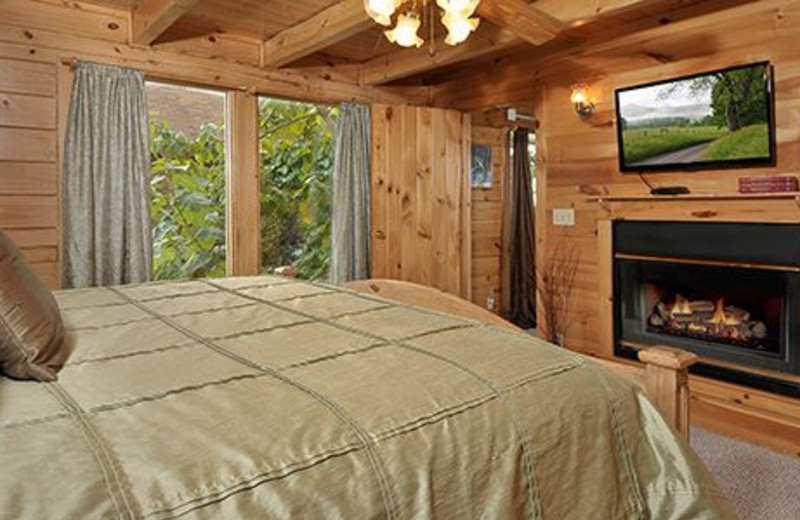 Cabin bedroom at at Dollywood Cabins.
