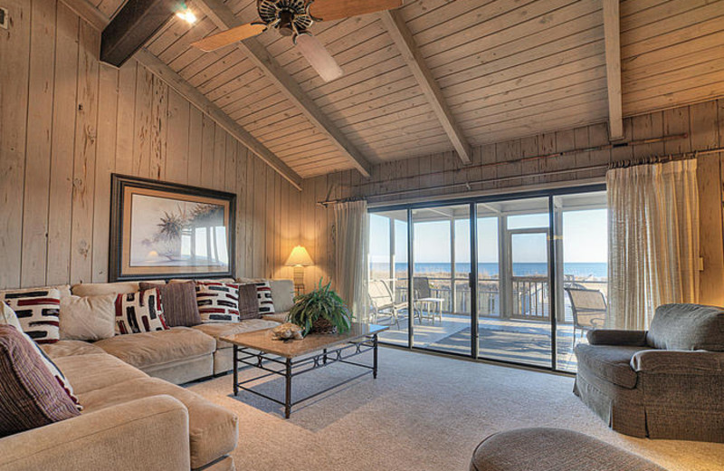 Rental living room at Elliott Beach Rentals.