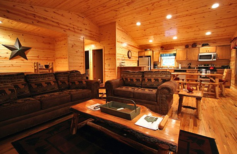 Cabin interior at Sautee Resorts.