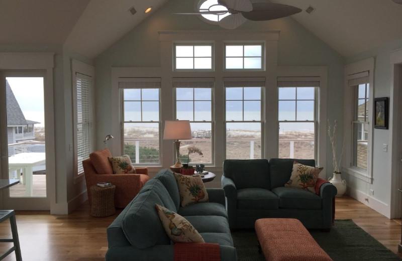 Rental living room at Mary Munroe Realty: Bald Head Vacations