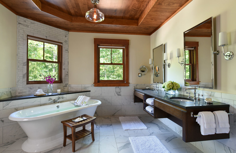 Guest bathroom at Mohonk Mountain House.