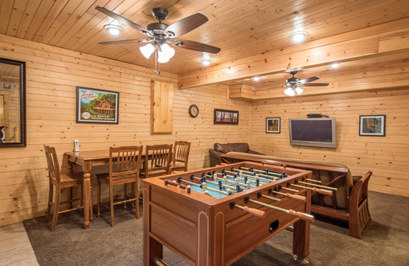 Cabin recreation room at Cut Above Cabins.