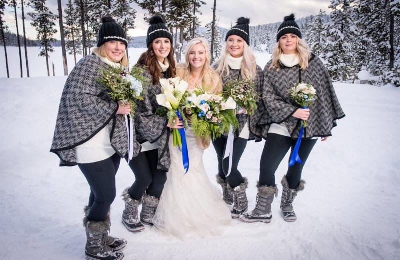 Wedding party at Elk Lake Resort.