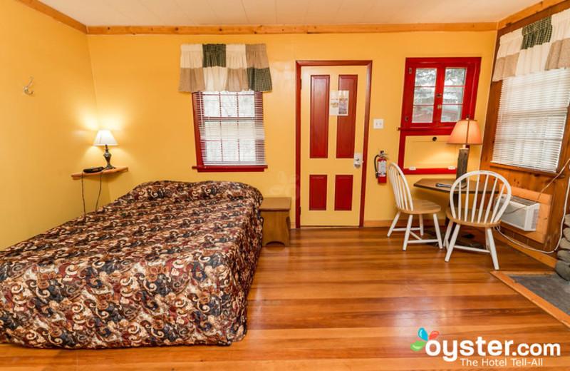 Cabin bedroom at Birchcliff Resort.