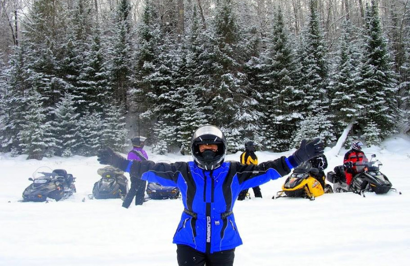 Snowmobiling at Wild Eagle Lodge.