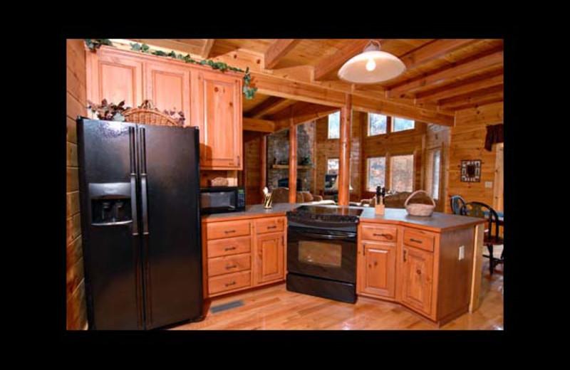 Cabin kitchen at Eden Crest Vacation Rentals, Inc. - Knotty Pines.