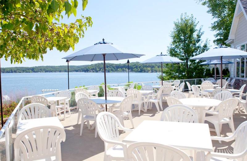 Patio at Bay Pointe Inn Lakefront Resort.