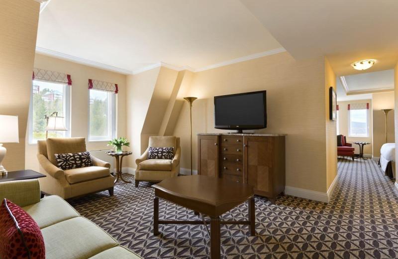 Guest room at Fairmont Le Manoir Richelieu.