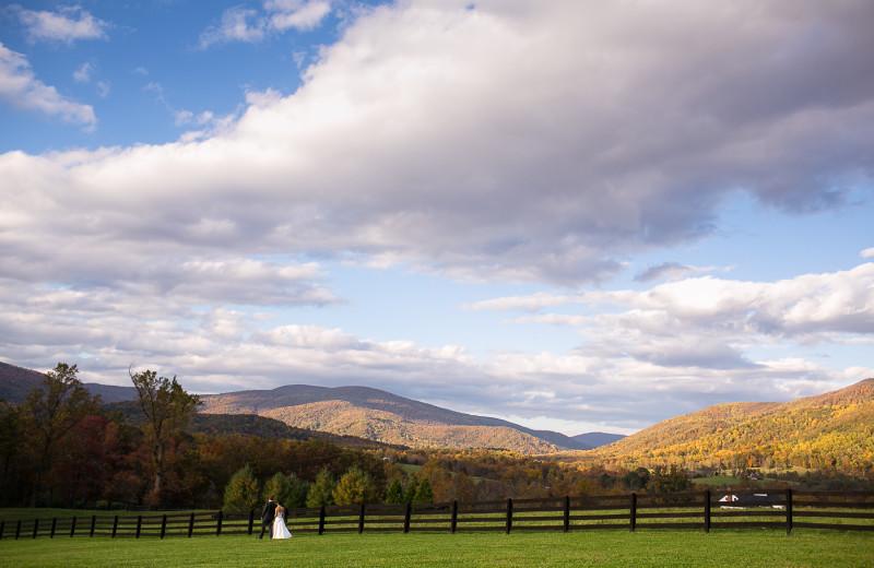 Breathtaking mountain views for your Montfair Resort Farm wedding ceremony near Charlottesville, VA.