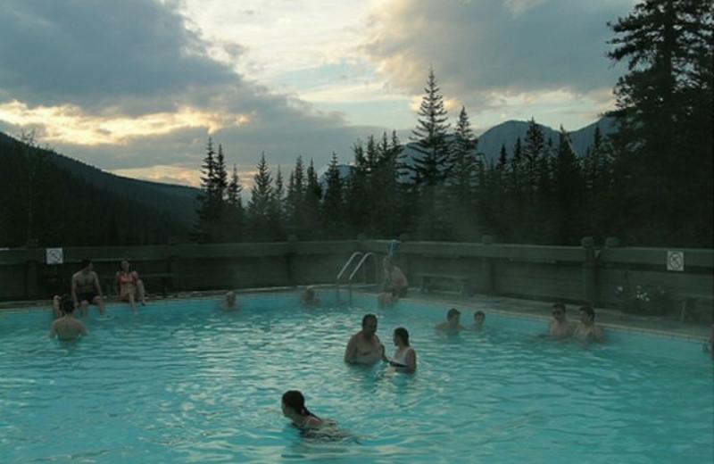 Jasper Alberta hot spring near Johnston Canyon Resort.
