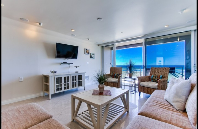 Rental living room at Surf Style Vacation Homes.
