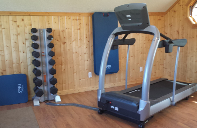 Fitness room at Appeldoorn's Sunset Bay Resort.