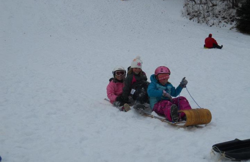 Sledding at Lakewoods Resort.