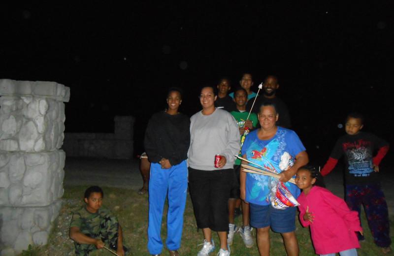 Family gathering at Cabins at Highland Falls.