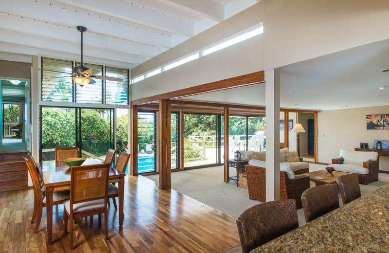 Rental living room at Hawaiian Vacation Rentals.